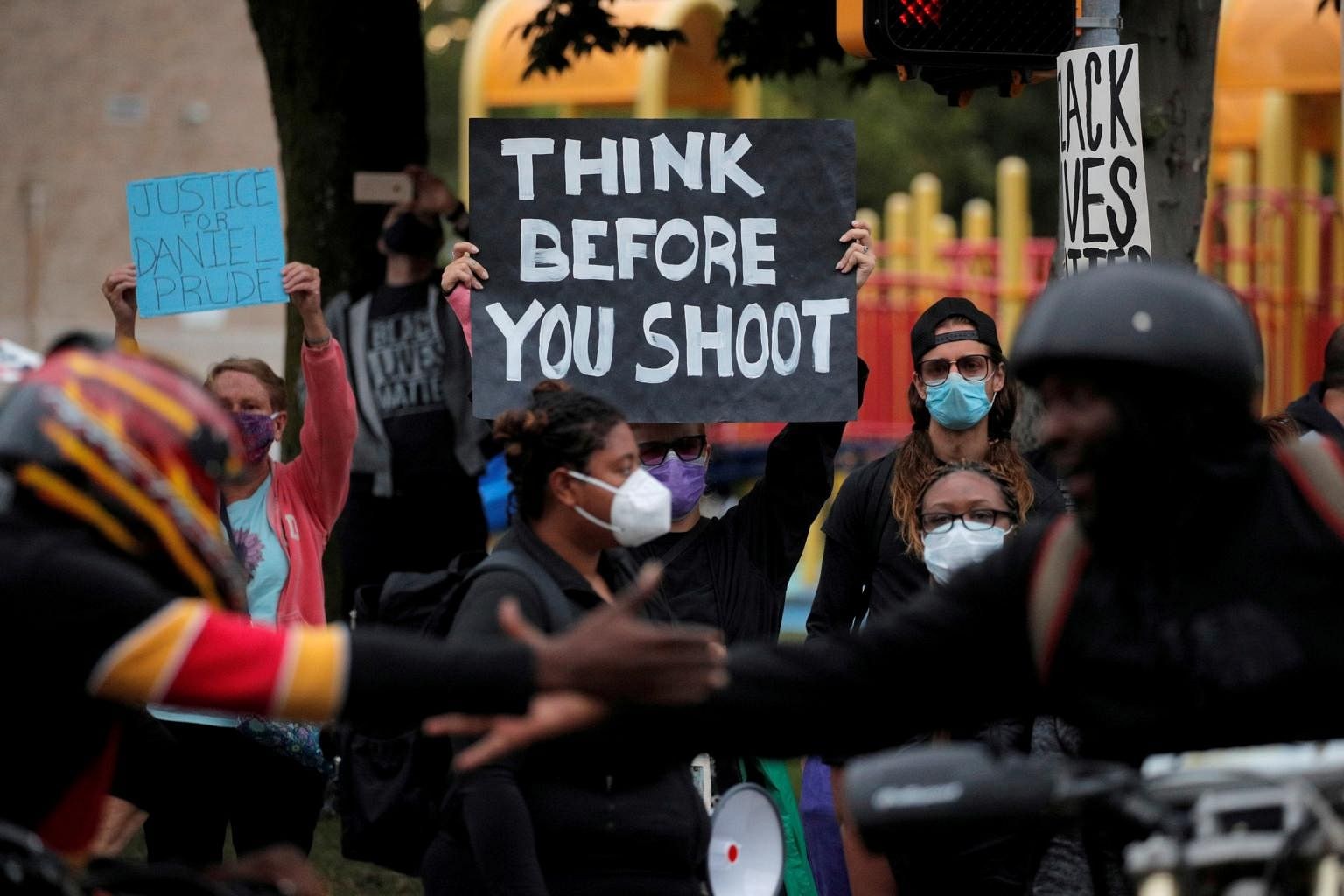Demonstrators take part in a protest over the death of Daniel Prude in Rochester New York on Sept 5 2020
