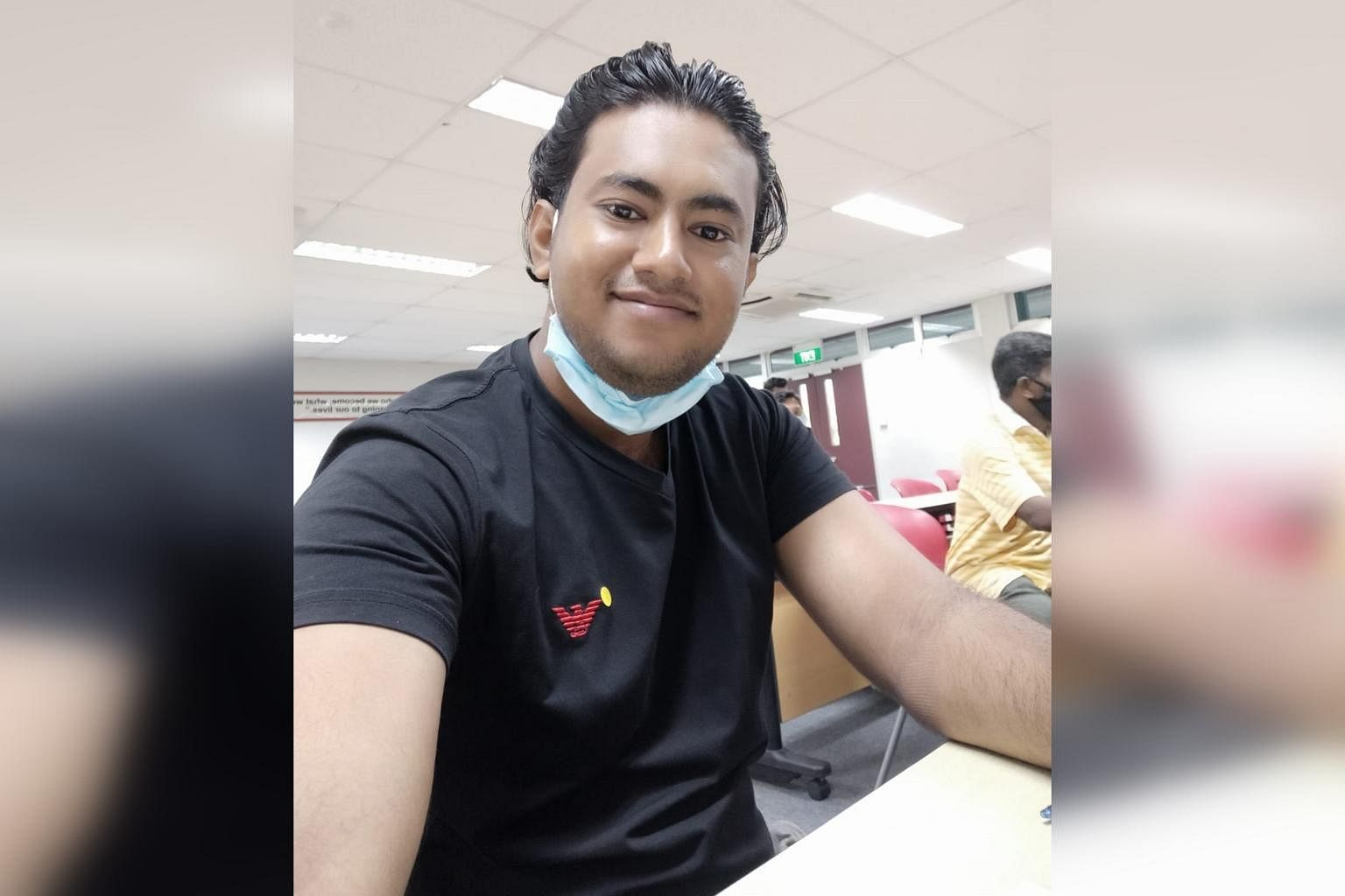 Mr Rubel, 29, a migrant worker from Bangladesh, in a photo taken in Singapore last year while he was on a course on boom lift operations. PHOTO:COURTESY OF RUBEL
