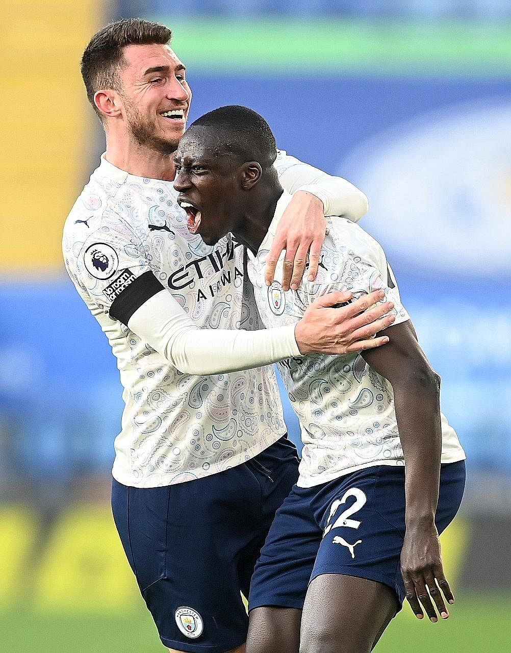 Manchester City's Benjamin Mendy (far right) celebrating with fellow defender Aymeric Laporte after scoring the opener in their 2-0 win at Leicester on Saturday. The Frenchmen were both absent from Didier Deschamps' Les Bleus squad for World Cup qual