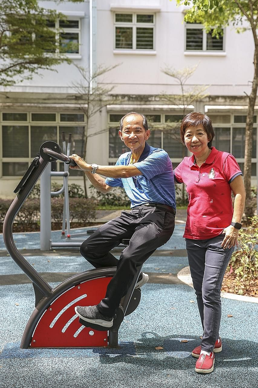 Madam Tan and Mr Chua learnt to portion food and now opt for whole-grain dishes. They also exercise almost every day for an hour. Tan Tock Seng Hospital health coach Cheong Pei Fen teaching retirees Jennifer Tan and her husband K.S. Chua about diabet