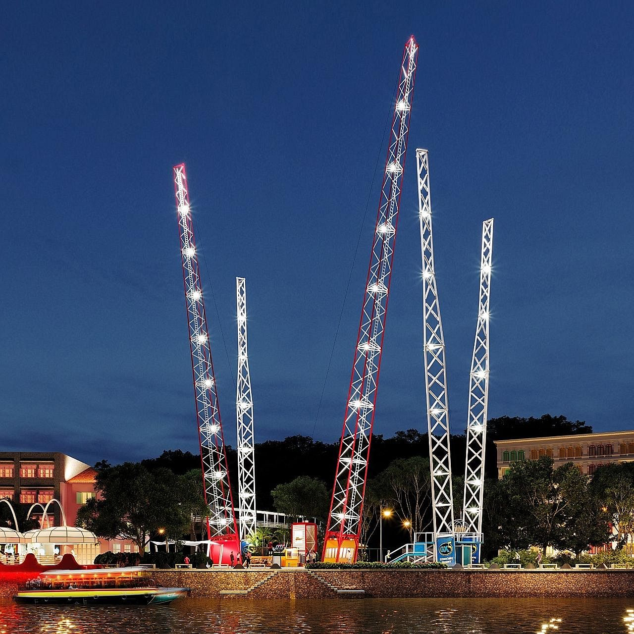 A 3D rendering of the Slingshot thrill ride at Clarke Quay that will catapult riders almost 70m into