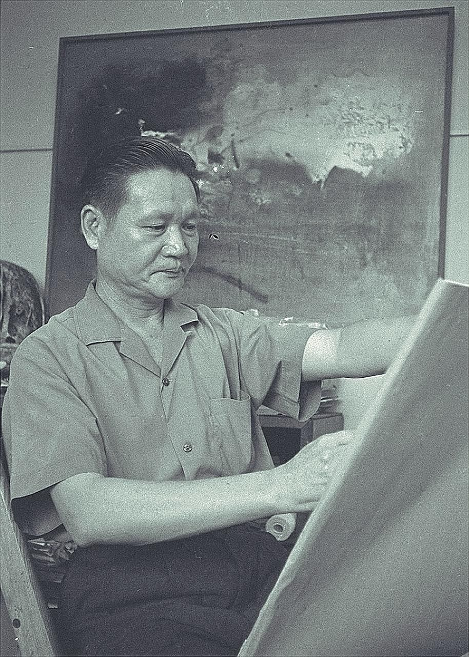 Artist Cheong Soo Pieng, in a picture taken in 1969. (Top) New Beginning (c. 1962), Chinese ink and colour on paper (Above) Sarawak Life (1964), Chinese ink and colour on paper (Right) God Bless (1982), Chinese ink and colour on rattan mounted on clo