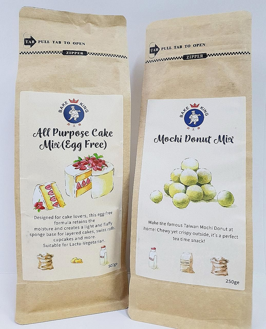 From tomorrow, the first 300 SPH subscribers to buy a Bake King All Purpose Cake Mix (Egg-Free) get a complimentary pack of Bake King Mochi Donut Mix.