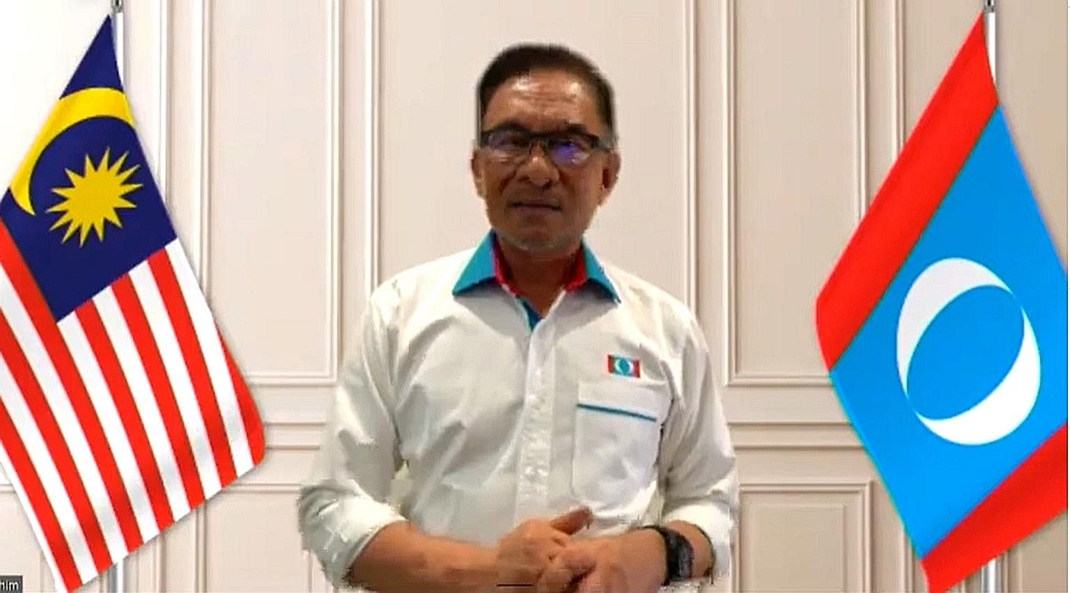 Mr Anwar Ibrahim criticising the government's handling of the Covid-19 crisis, in a special online address yesterday after the PKR virtual congress was last Friday blocked by the authorities.