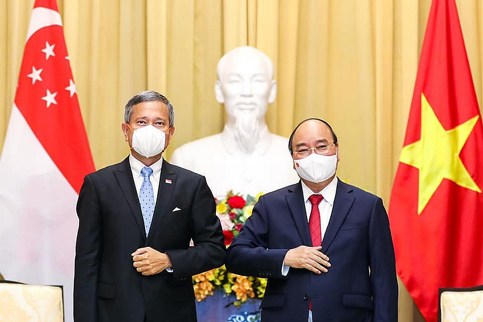 Singapore Foreign Minister Vivian Balakrishnan with Vietnam President Nguyen Xuan Phuc during his official visit to the country.