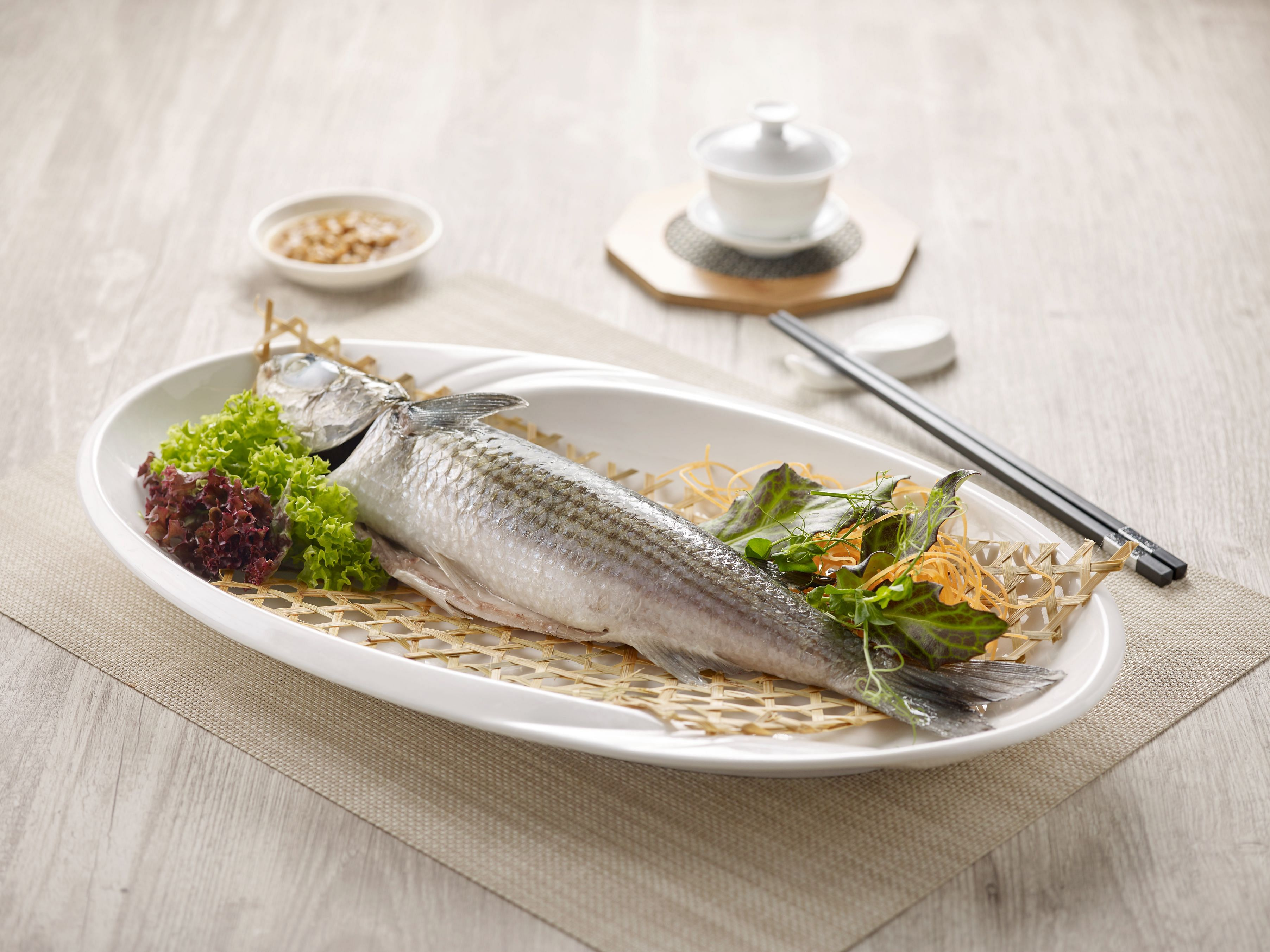 paradise teochew, teochew style chilled steamed mullet