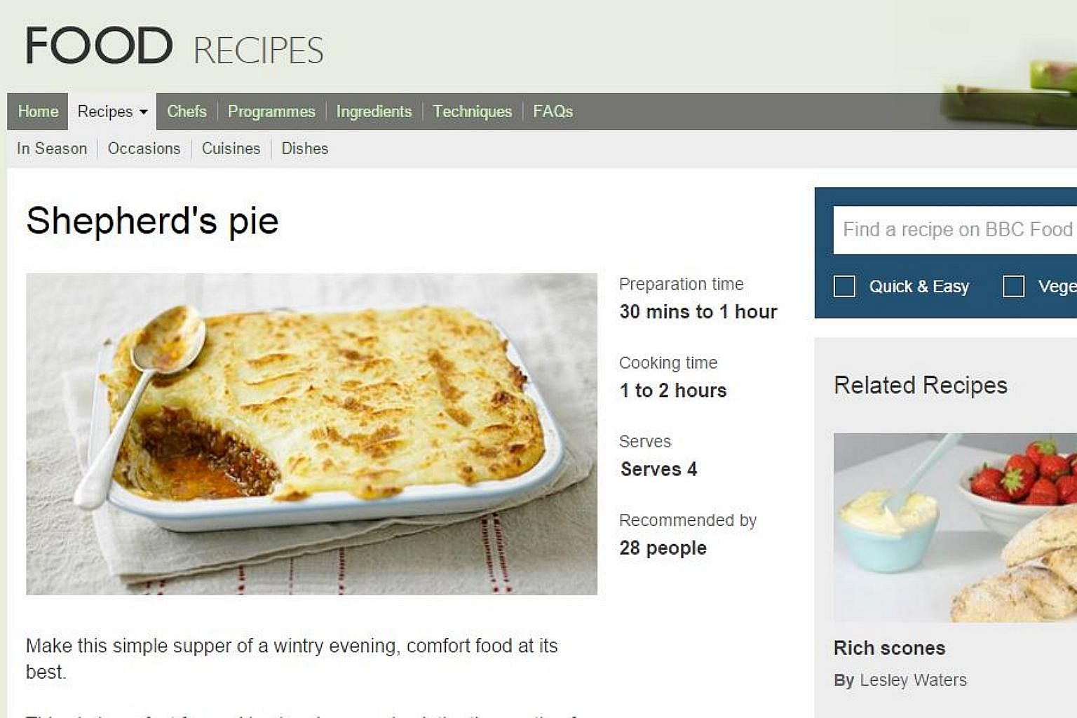 From fish curry to chocolate cake 10 all time favourite bbc online photo screengrab from bbc food website forumfinder Choice Image