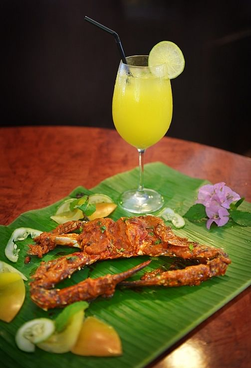 Samy's Curry is known for serving food on banana leaves.