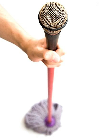 A mop with a microphone-on top, for moments of musical inspiration while you're doing housework.