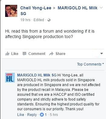 Marigold HL milk products recalled in Malaysia due to