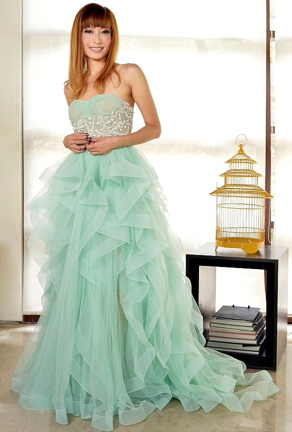 """""""I like to call this my mermaid dress - its colour, foamy layers and fully beaded bodice reminds me of the sea."""""""