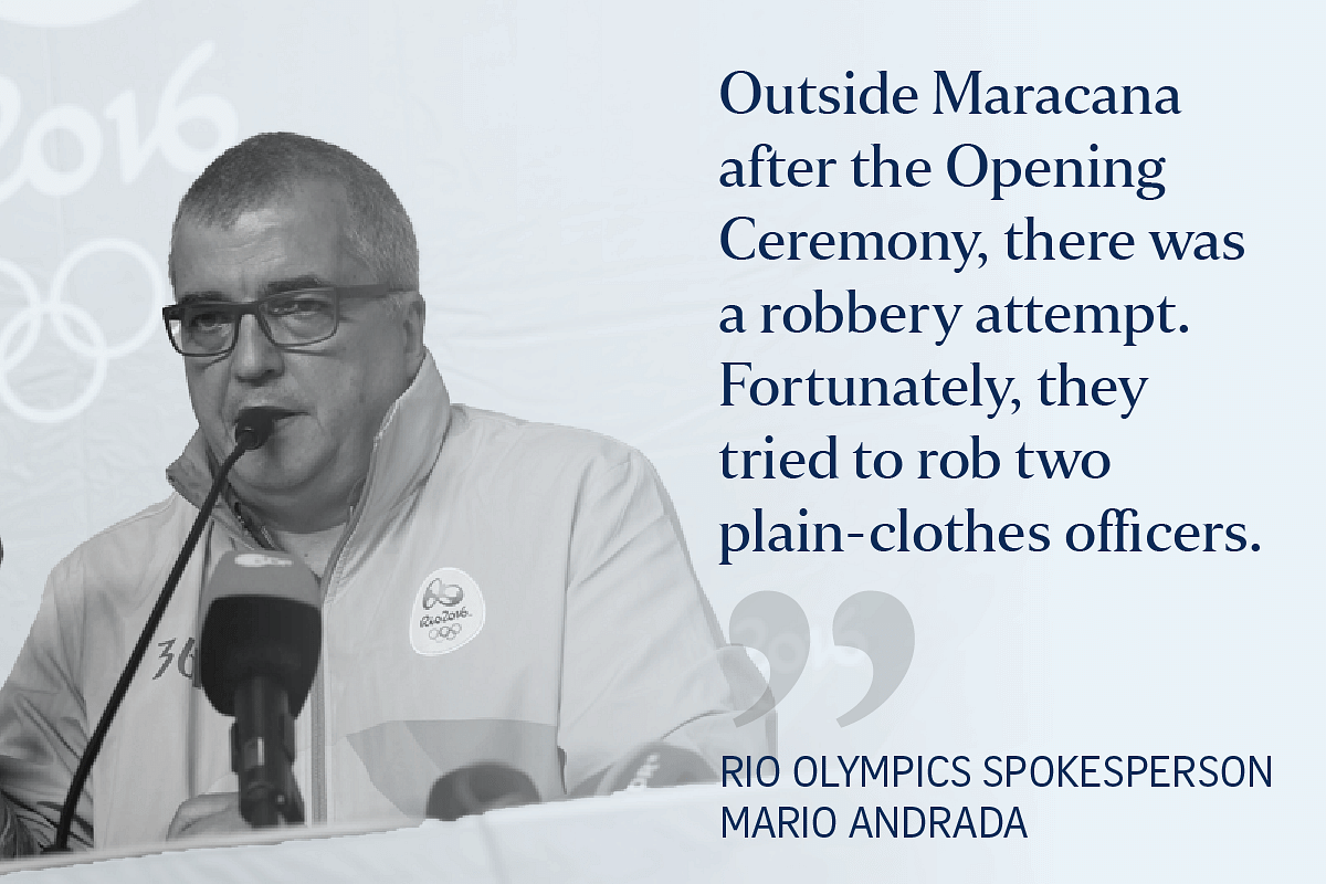 Olympics communications director Mario Andrada speaks at a news conference in Rio.