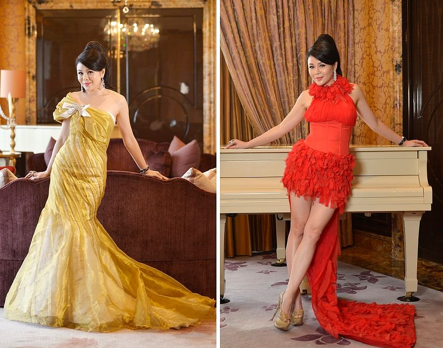 "Mrs Ho designs her own gowns. (Left) ""I can highlight my shoulders and curves in this one-shoulder, mermaid silhouette gown."" (Right) ""Racerfront gowns are great for showing off my shoulders."""