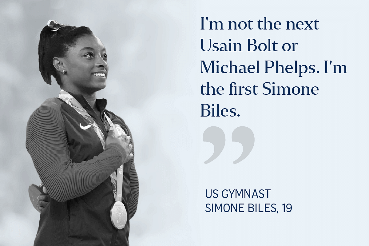 Simone Biles during the medal ceremony at the Rio 2016 Olympic Games.