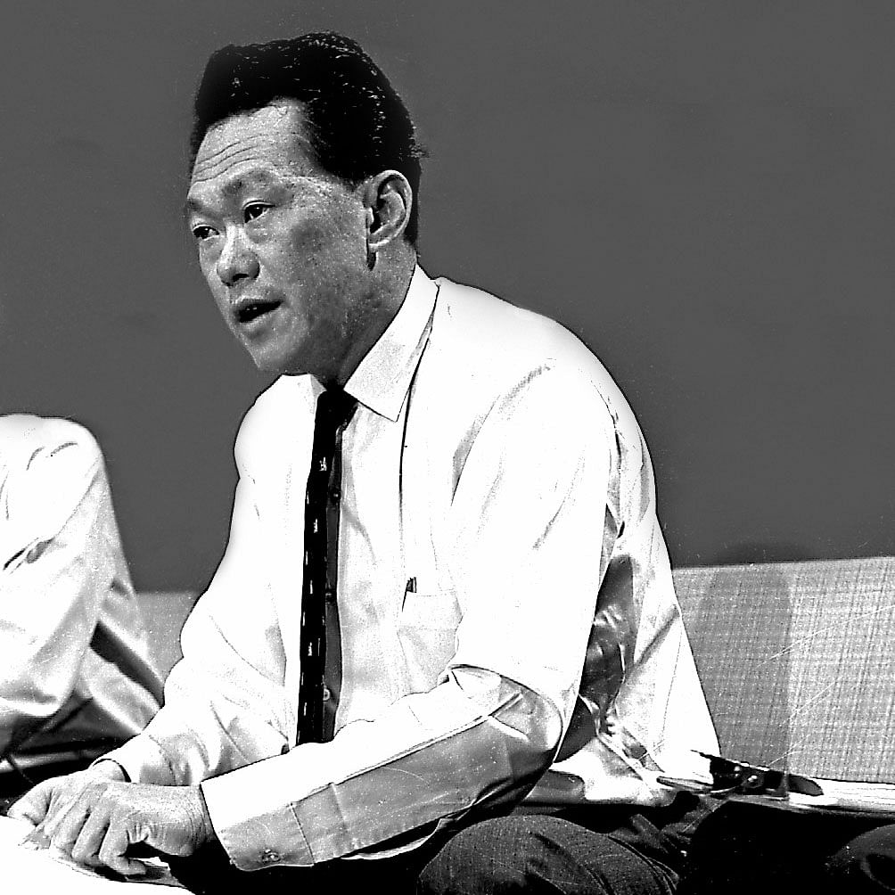 Mr Lee Kuan Yew at a press conference at TV Singapore on the separation of Singapore from Malaysia on Aug 9, 1965.