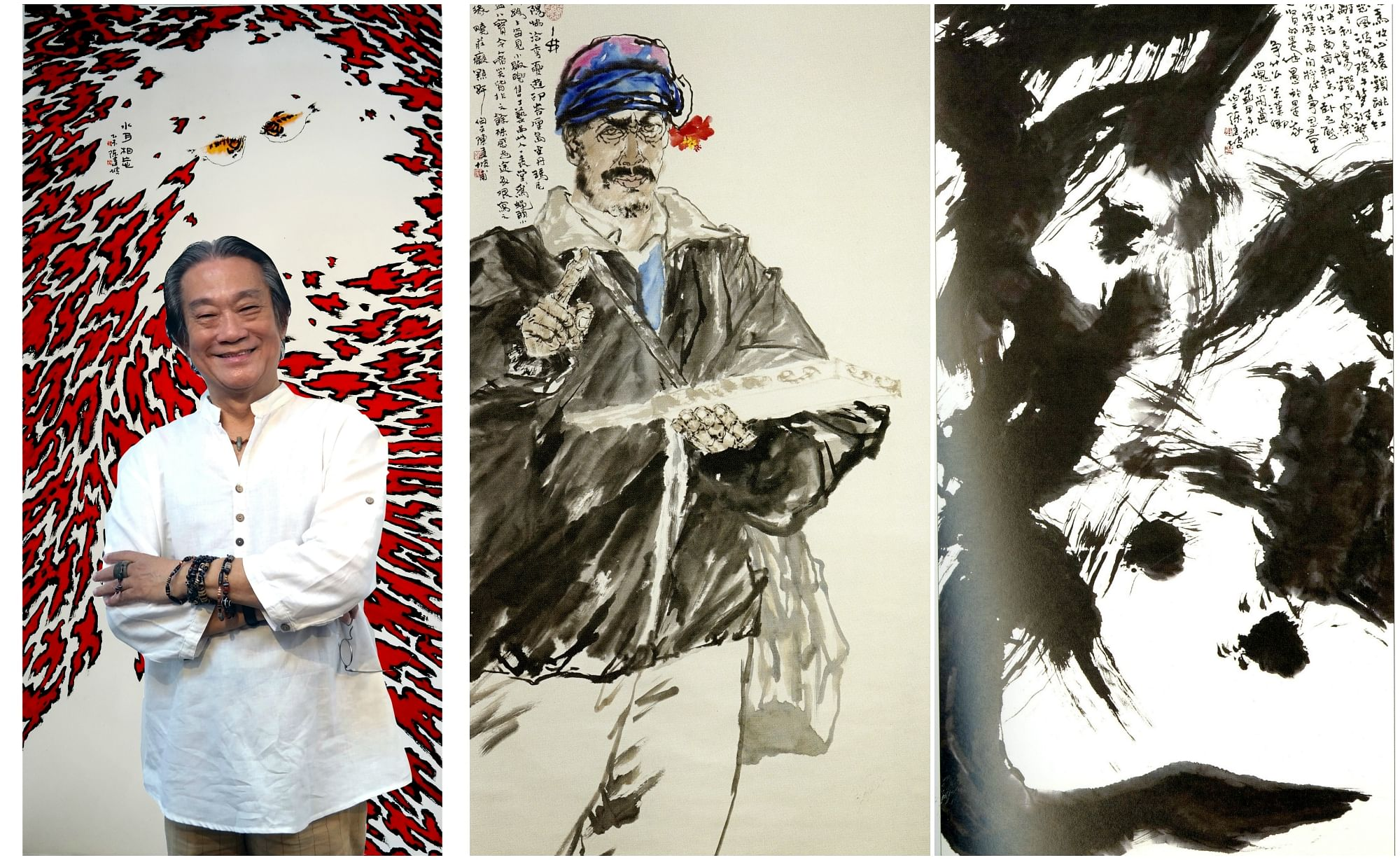 The latest solo exhibition of Tan Kian Por (left) features artworks such as Shui Yue Xiang Wang (background) and a portrait of a Balinese man (top) as well as abstract Chinese calligraphy (above).