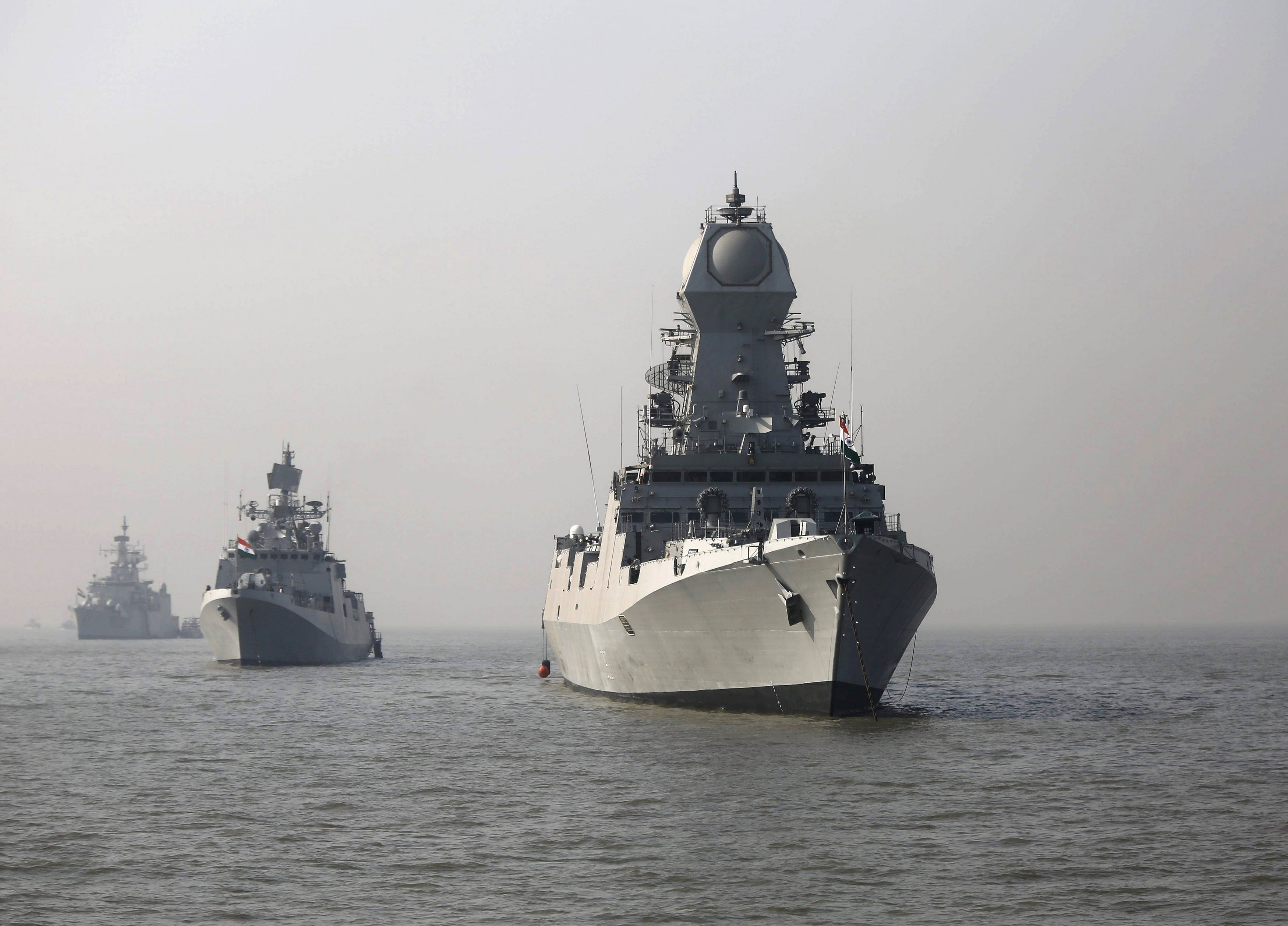 Indian Navy warships during a media event off the coast of Mumbai in December. Pakistan, despite modernisation of its navy, will find it difficult to tackle India's formidable naval arsenal alone. Hence its dependence on China.