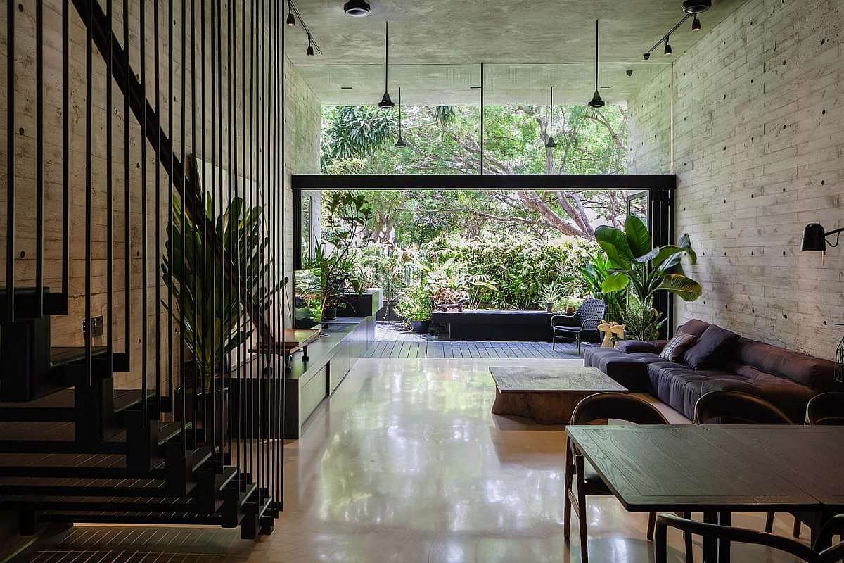 House with foliage and pool top winner at architectural for Terrace meaning