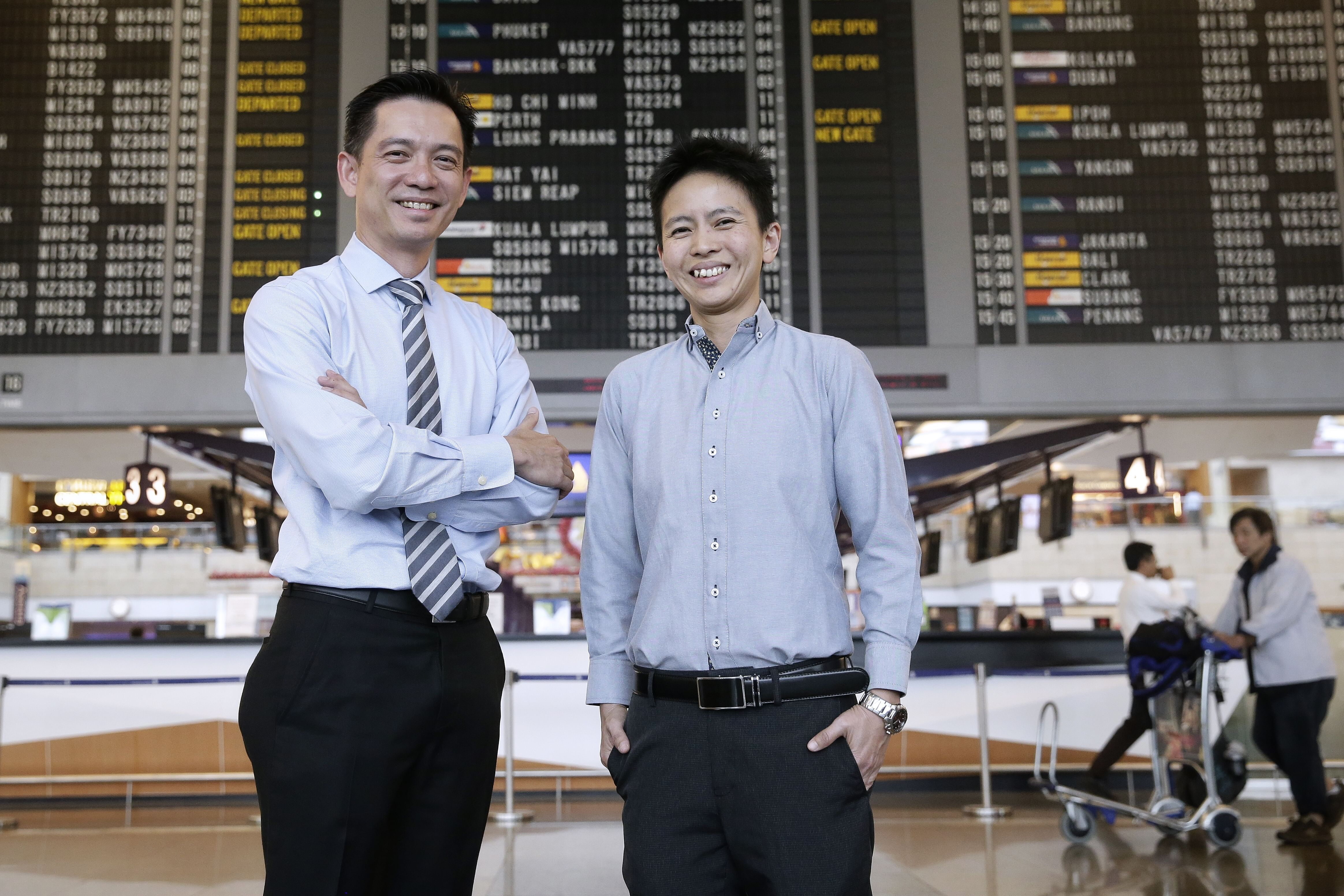 Mr Goh (left) convinced his company's HR department to grant Ms Giam (right) NS leave when she is called up, so she can return to her squadron for training without taking her annual leave.