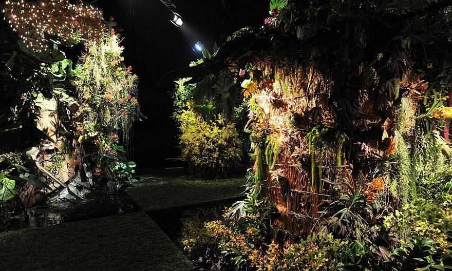Mr Michael Petrie won the same awards in the fantasy gardens category for his Back To The Wild display. -- PHOTO: LIM YAOHUI FOR THE STRAITS TIMES