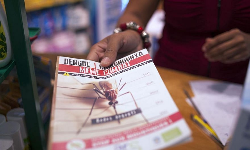 A picture taken on July 10, 2014, shows a shopkeeper handing to a customer some documentation about the mosquito-born chikungunya virus at a drugstore in Lamentin, near Fort-de-France, on the French Caribbean island of La Martinique.-- PHOTO: A