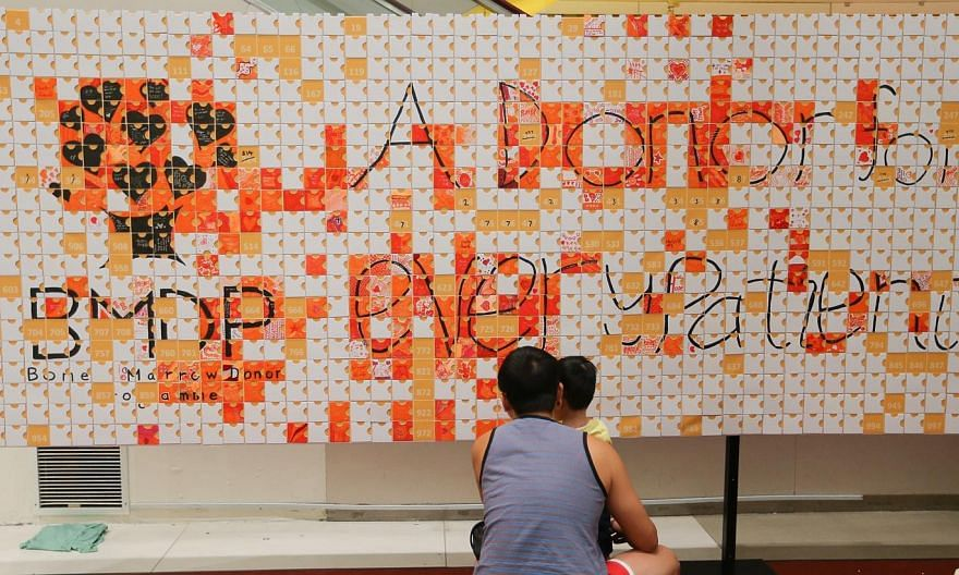 A man and his son placing a piece of a puzzle on the board that will hold a thousand mosaic puzzle pieces, a project by students from Raffles Institution working for Singapore's Bone Marrow Donor Programme at IMM on 17 Aug 2014. -- ST PHOTO:ONG