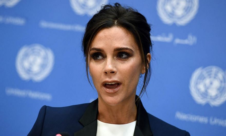 UNAIDS International Goodwill Ambassador, British fashion designer Victoria Beckham, at a press conference on the sideline of the 69th Session of the UN General Assembly at the United Nations in New York on Sept 25, 2014.-- PHOTO: AFP