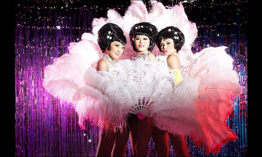 Beauty World, which featured actresses such as (from left) Esther Yap, Judee Tan and Cheryl Miles, was presented again by Wild Rice 20 years after it was first shown here. -- PHOTO: WILD RICE