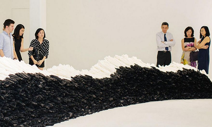 Chinese artist Zhu Jinshi's ink-on-xuan-paper Work (above) was among the artworks on display at Pearl Lam Galleries.