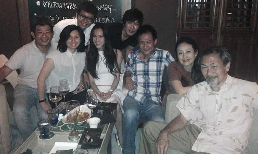The cast and production team of Growing Up reunited for drinks last year (above), including (front row, from left) actor Ivan Tay (who played Gary's buddy) and his wife; Irin Gan; executive producer Ng Say Yong; Wee Soon Hui; Lim Kay Tong; and acto