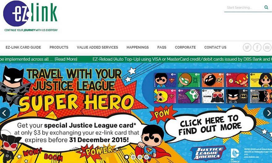 The Justice League card series features popular superhero designs, including Catwoman, Batgirl, Batman, Green Lantern, Robin, Superman, Supergirl, The Flash, The Joker and Wonder Woman. -- PHOTO: SCREENGRAB FROM EZLINK.COM.SG