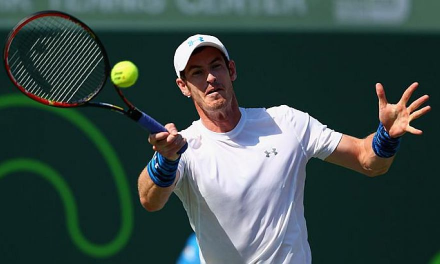 Andy Murray plays a forehand against Dominic Thiem of Austria in their quarter final match on April 1, 2015. Murray shook off a sluggish start to defeat Austrian Dominic Thiem 3-6, 6-4, 6-1 on Wednesday and reach the semi-finals of the Miami Masters.