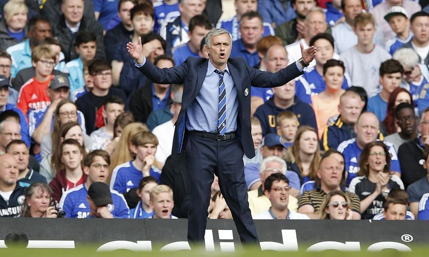 Chelsea manager Jose Mourinho reacts during his team's match with Crystal Palace on Sunday. -- PHOTO: REUTERS