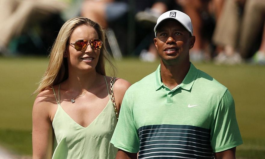 Skier Lindsey Vonn and golfer Tiger Woods, in better times - during the par 3 event held ahead of the 2015 Masters at Augusta National Golf Course in Georgia on April 8. -- PHOTO: REUTERS