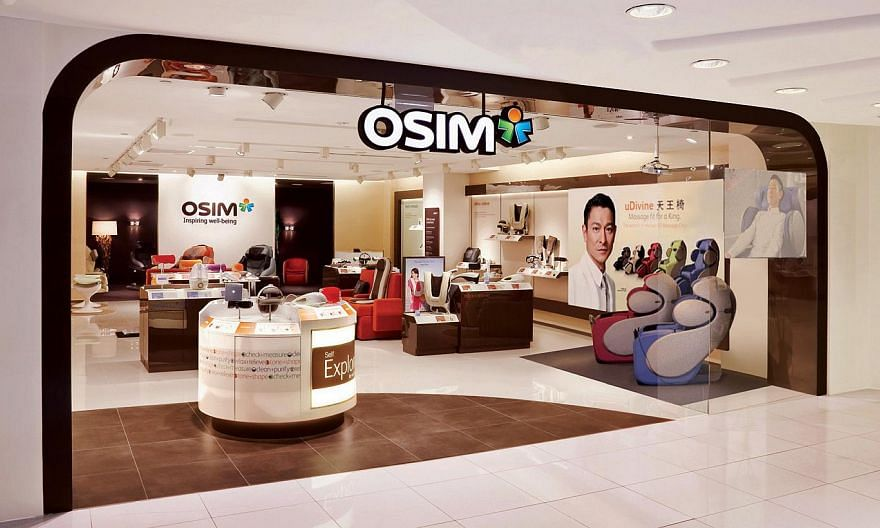An Osim outlet at a shopping mall. Osim International shares fell nearly 13 per cent to their lowest in two-and-a-half years in early trade on Wednesday after the company reported a more than 50 per cent slump in first quarter profit. -- PHOTO: OSIM&