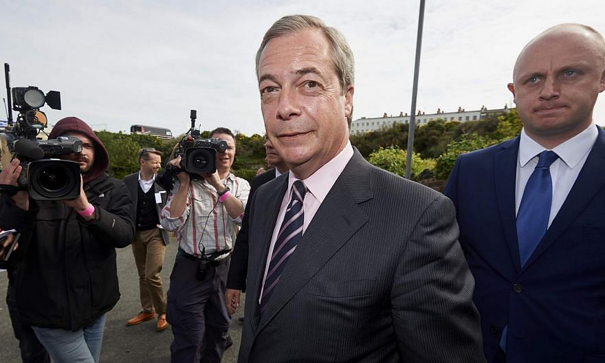 UK Independence Party (UKIP) leader Nigel Farage arrives at a counting centre in Margate on May 8, 2015. -- PHOTO: AFP