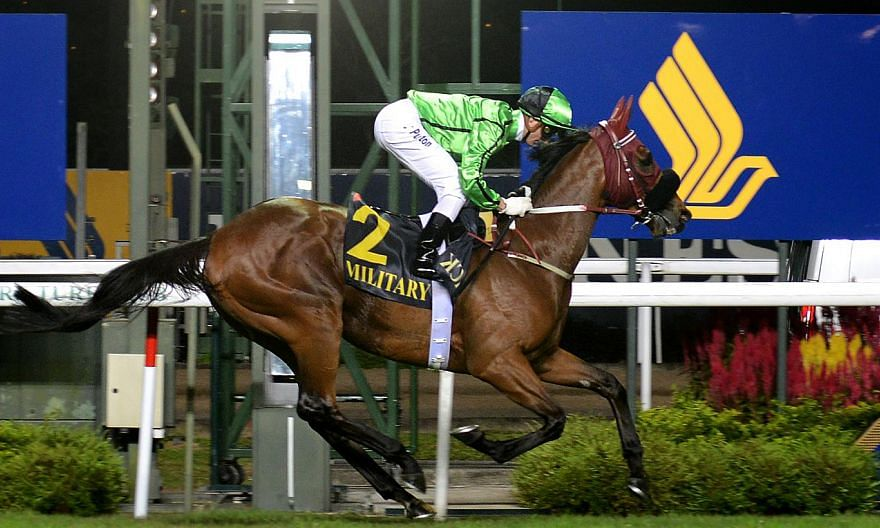 Race horse Military Attack (with jockey Zac Purton astride) emerged the champion of the Singapore Airlines International (SIA) Cup held at the Singapore Racecourse in Kranji on May 19, 2013. Military Attack will get to start in barrier 3 for the