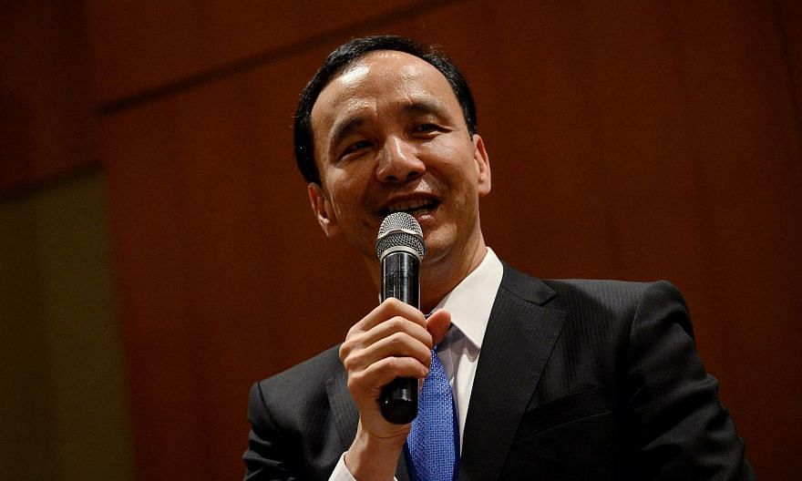 Eric Chu, chairman of Taiwan's ruling Kuomintang (KMT) party speaks during a press conference at a hotel in Beijing on May 4, 2015. -- PHOTO: REUTERS