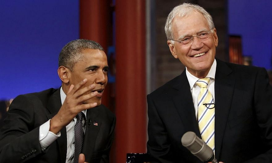 US President Barack Obama tapes an appearance on the Late Show with David Letterman at the Ed Sullivan Theater in New York on May 4. -- PHOTO: REUTERS