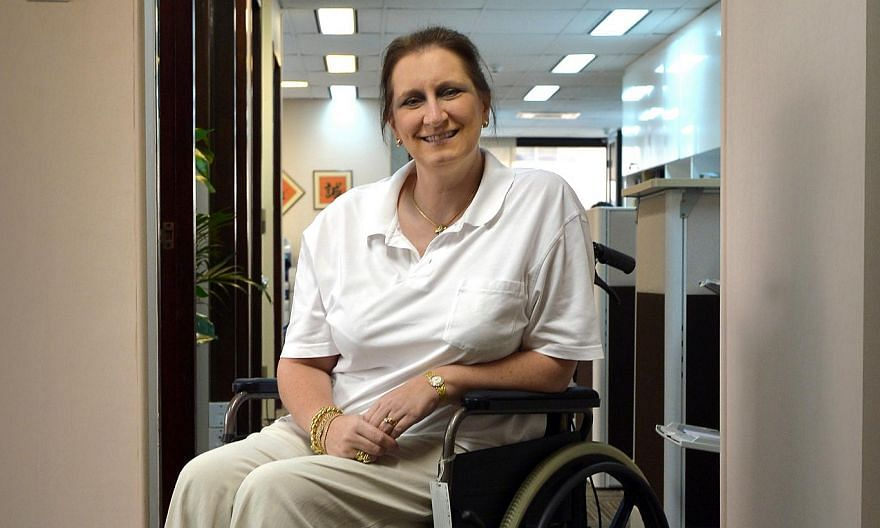 Briton Pamela Mykytowych had suffered a fractured left knee when she slipped and fell on the wet floor of the VIP Hotel lobby near Newton MRT in May 2011. -- PHOTO: ST FILE