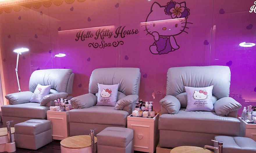 Hit the spa (above) to get Hello Kitty designs painted on your nails. The spa also offers facials, body waxing, eyelash extensions and massages. -- PHOTO: SANRIO HELLO KITTY HOUSE BANGKOK