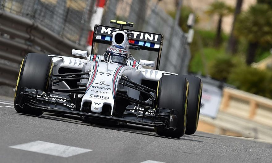 Williams Martini Racing's Finnish driver Valtteri Bottas drives during the third practice session at the Monaco street circuit in Monte-Carlo on May 23, 2015, ahead of the Monaco Formula One Grand Prix. -- PHOTO: AFP