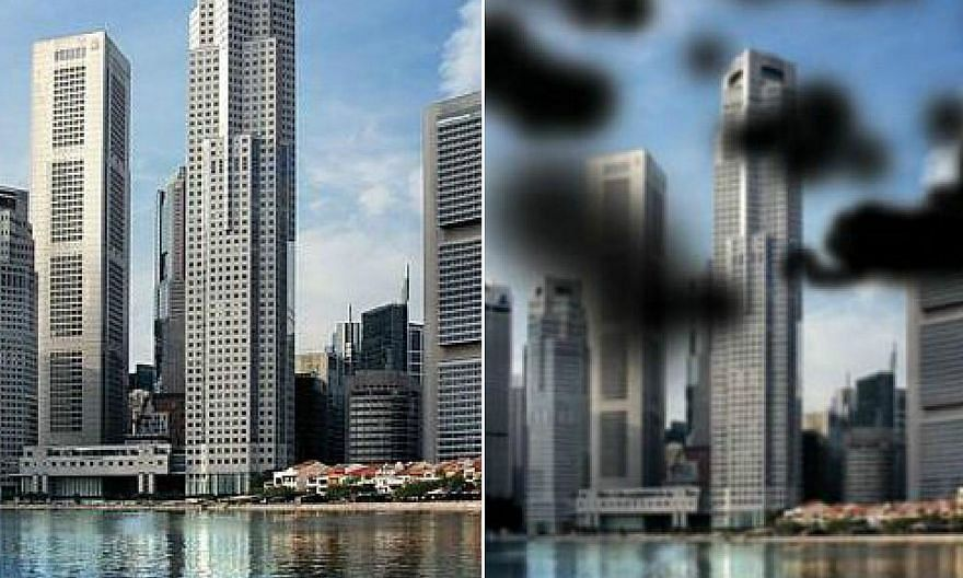 What a person with normal vision sees (left) compared to what a person with diabetic retinopathy sees (right). -- PHOTOS: SINGAPORE NATIONAL EYE CENTRE