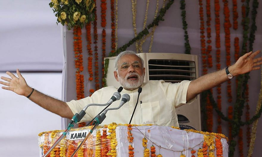 Prime Minister Narendra Modi addresses his supporters during a rally in Mathura, India, on May 25, 2015. -- PHOTO: REUTERS