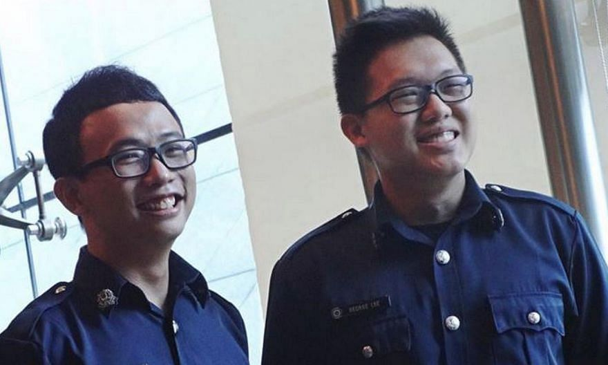 A woman managed to land her molester in jail, thanks to the quick actions of two off-duty police officers SC Tan Keng Yew (left) and SC George Lee. -- PHOTO: SINGAPORE POLICE FORCE