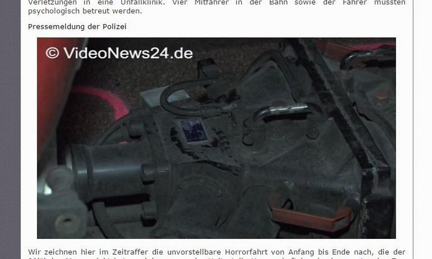 Jan Norman, 20, was trapped upside down between the couplings when he attempted to leap between two tram cars, according to reports. -- SCREENSHOT: VIDEONEWS24.DE