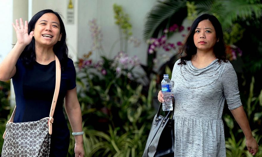 Tang Lei (left) and Tang Bei leaving the State Courts on Thursday, May 28. -- ST PHOTO: WONG KWAI CHOW