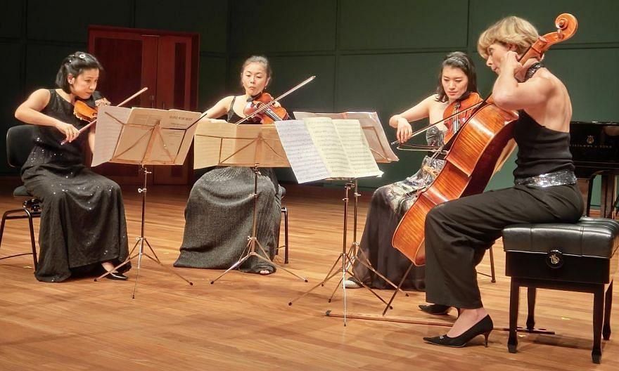 (From left) Violinist Yuki Kasai, violinist Tang Tee Khoon, violist Mariko Hara and cellist Olivia Jeremias. -- PHOTO: CHANG TOU LIANG