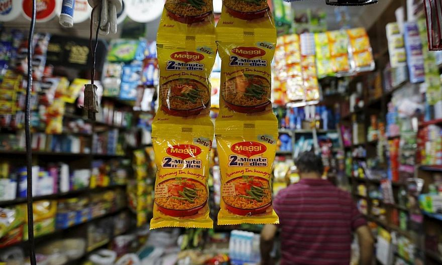 Packets of Maggi instant noodles are seen on display at a grocery store in Ahmedabad, India, on June 3, 2015. India's food safety regulator said on Friday that laboratory tests had found overwhelming evidence that Nestle India's instant noodle p