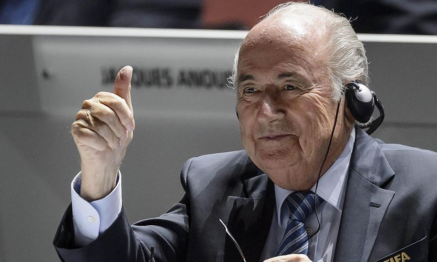 Sepp Blatter gives a thumb up at the opening of the 65th Fifa Congress in Zurich on May 29, 2015. Blatter may seek to stay on as the president of Fifa, a Swiss newspaper quoted an anonymous source close to Blatter as saying on Sunday. -- PHOTO: AFP&n